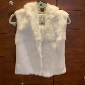 Joie rabbit fur hooded white vest, sz. XS